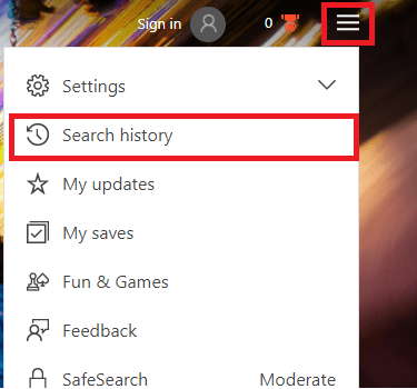 delete bing search history images and videos view and clear